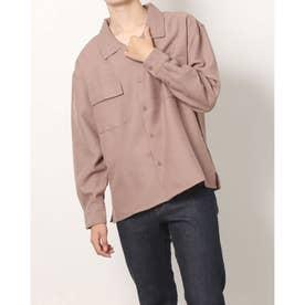 フェイクリネンオープンカラー長袖ビッグシャツ (ピンク)