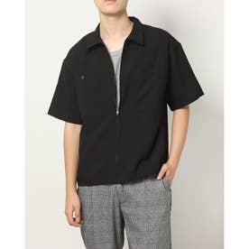 ポリトロストレッチ半袖ZIPシャツ (ブラック)