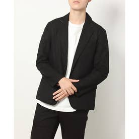 綿麻ストレッチ7分袖テーラードジャケット (ブラック)