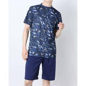 吸汗速乾総柄プリント半袖Tシャツ (Bネイビー)