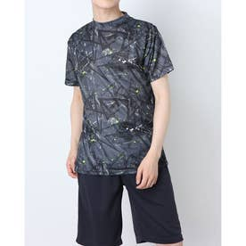 吸汗速乾総柄プリント半袖Tシャツ (Cチャコール)