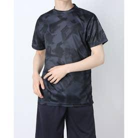 吸汗速乾総柄プリント半袖Tシャツ (Eブラック)