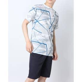 吸汗速乾総柄プリント半袖Tシャツ (Fグレー)