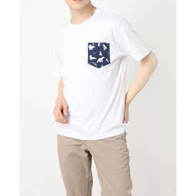 プリントポケット付半袖Tシャツ (ホワイト)