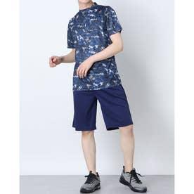 吸汗速乾総柄プリント半袖Tシャツ上下セットアップ (Bネイビー)