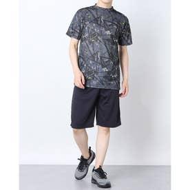 吸汗速乾総柄プリント半袖Tシャツ上下セットアップ (Cチャコール)