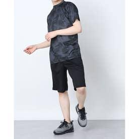 吸汗速乾総柄プリント半袖Tシャツ上下セットアップ (Eブラック)