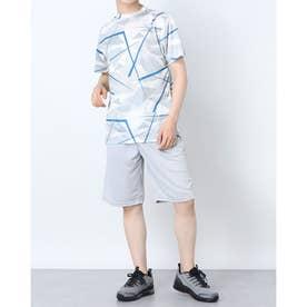 吸汗速乾総柄プリント半袖Tシャツ上下セットアップ (Fグレー)