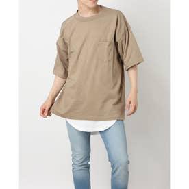 無地ポケット付ビッグTシャツ&ワッフルロングタンクトップ (ベージュ)
