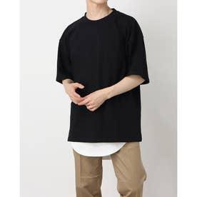 無地ポケット付ビッグTシャツ&ワッフルロングタンクトップ (ブラック)