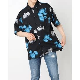 バラ総柄半袖ビッグシャツ (ブラック)
