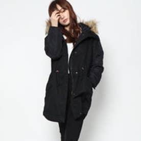 綿ツイル×高密度タフタ袖切り替え薄中わたモッズコート (ブラック)