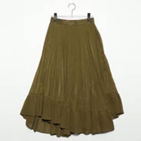 シフォンプリーツ切替スカート (カーキ)