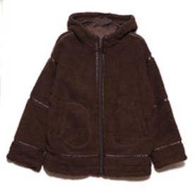 ボアパイピングフードジャケット (ブラウン)