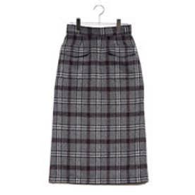 先染めチェックシャギーポケットスカート (グレー)