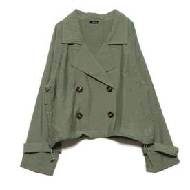 シアー素材裾ドロストショートトレンチコート (ライトカーキ)