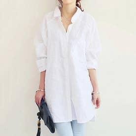 ロング丈シャツ (ホワイト)