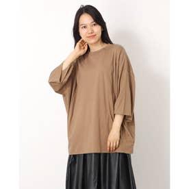 シルケット風天竺タックオーバーサイズTシャツ (モカ)
