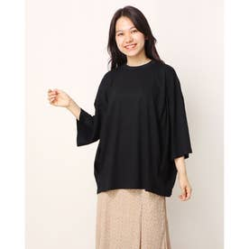 シルケット風天竺タックオーバーサイズTシャツ (ブラック)