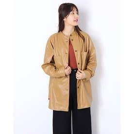 合皮スタンドカラーシャツジャケット (ベージュ)