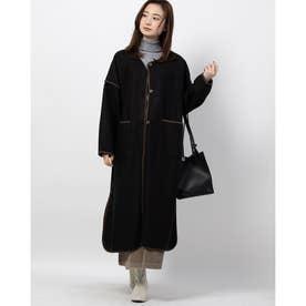 ロング丈パイピングノーカラー起毛コート (ブラック)