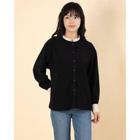 起毛ツイル合皮パイピングスタンドカラーシャツ (ブラック)