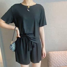 接触冷感Tシャツ&ショートパンツセットアップ (ブラック)