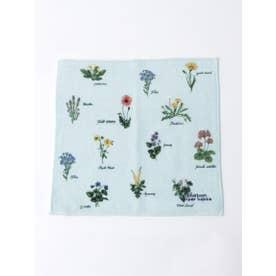 野の花図鑑プリントハンドタオル (ライトブルー)