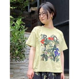 BOTANYプリント×フラワー刺しゅうTシャツ (イエロー)