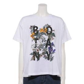 BOTANYプリント×フラワー刺しゅうTシャツ (ホワイト)