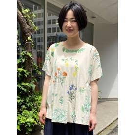 春ののはらプリントギャザー半袖カットソー (生成)