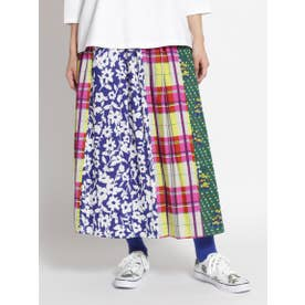 コットンレーヨンローン フラワー×チェックミックススカート (ブルー)