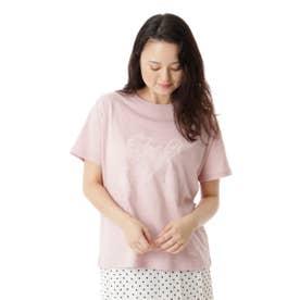 イニシャルフロッキープリントTシャツ (ピンク)