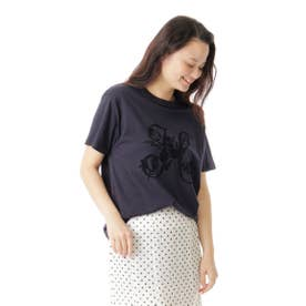 イニシャルフロッキープリントTシャツ (ネイビー)