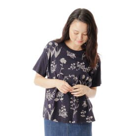 フラワーケイブプリントTシャツ (ネイビー)