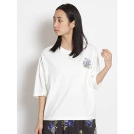 ポケットフラワープラント刺しゅうTシャツ (オフホワイト)