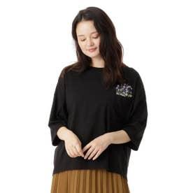ポケットフラワープラント刺しゅうTシャツ (ブラック)