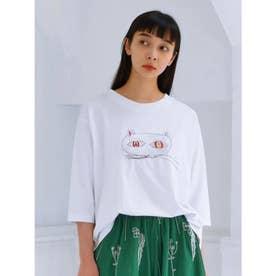 アーティストコラボ企画「両方ともすき」プリント×刺しゅうTシャツ (ホワイト)