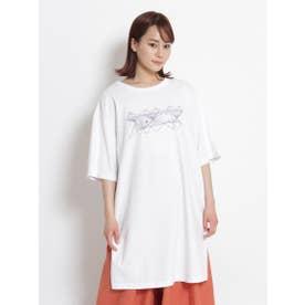 アーティストコラボ企画「あやとり」プリント×刺しゅうロングTシャツ (ホワイト)