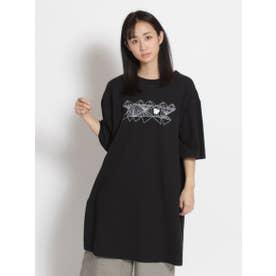 アーティストコラボ企画「あやとり」プリント×刺しゅうロングTシャツ (ブラック)