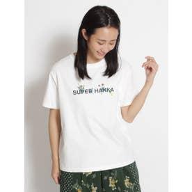 SUPER HAKKAロゴプリント&草花刺しゅうTシャツ (オフホワイト)