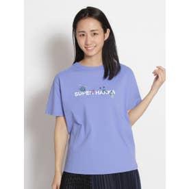SUPER HAKKAロゴプリント&草花刺しゅうTシャツ (ブルー)
