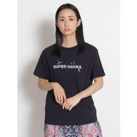 SUPER HAKKAロゴプリント&草花刺しゅうTシャツ (ネイビー)