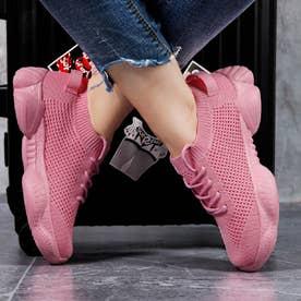 レースアップスニーカー (ピンク)