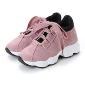 リボンシューレース 厚底スニーカー (ピンク)
