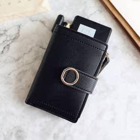 スクエア折り畳み財布 (ブラック)