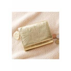 にゃーんと運気も急上昇- 三つ折ゴールドねこ財布 (ゴールド)