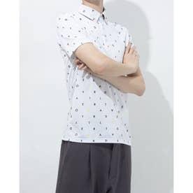 メンズ ゴルフ 半袖シャツ オールオーバーグラフィック S/S ポロ TB122 (ホワイト)