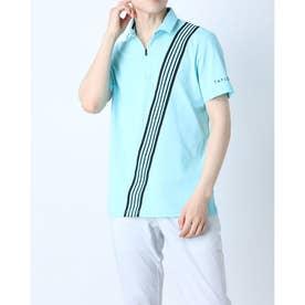 メンズ ゴルフ 半袖シャツ ストライプバープリント S/S ポロ TB136 (ブルー)