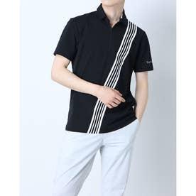 メンズ ゴルフ 半袖シャツ ストライプバープリント S/S ポロ TB136 (ブラック)